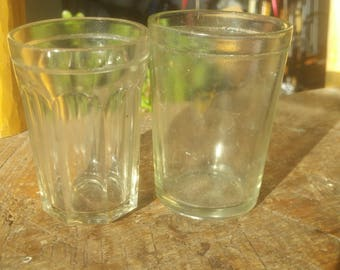 2 antique glass cups