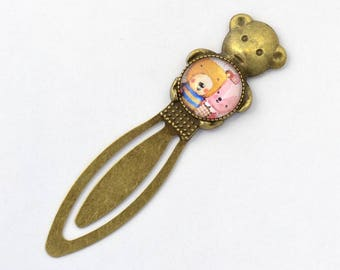 "Teddy bear bookmark and cabochon glass ""cubs"""