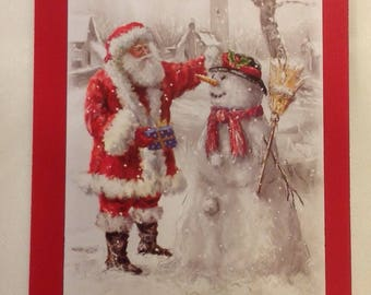 Christmas card - Santa with a snowman in a magical setting