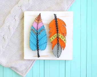 Feather String Art wooden decor in the nursery,on a wall or on a shelf,woodland animals baby shower,woodland animals nursery,string art baby