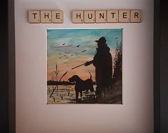 The Hunter watercolour pebble art picture