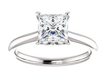 Forever One Moissanite Engagement Ring- Carissa | princess | solitaire moissanite engagement ring