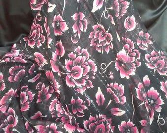 Pink Flowers Scarf Black Pink Scarf Womens Scarf Womens Birthday Gift Gypsy Style Scarf Bandana Wrap Scarves Shawl Hijab Flower Scarf Scarve