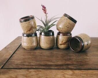 Set of 6 vintage speckled ceramic saki cups