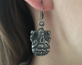 Hindu God Ganesha Sterling Silver Earrings