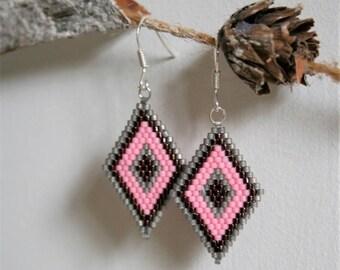 Pearl Earrings glass Miyuki pink, grey, and Garnet 925 Silver hooks