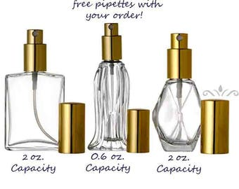 Set of 6 LUXURY Atomizer Refillable Perfume Cologne Essential Oil Glass SPRAY BOTTLE Empty
