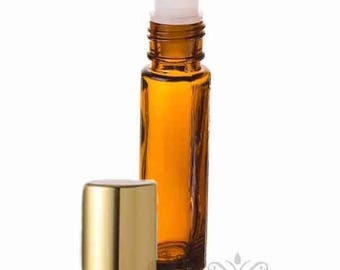 1 Amber Glass Roll On Bottle with Gold Cap- 10 ML