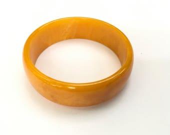 Bakelite Bangle Butterscotch Swirl Chunky Marbled Bracelet Vintage Jewelry