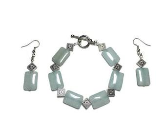 Glass aqua bead earrings, aqua bead earrings, beach jewelry, tropical jewelry, toggle bracelet, jewelry set, ice blue beads, beaded bracelet