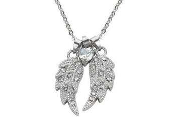 Ladies Double Angel Wing Crystal Heart Shaped Center Stone Necklace 19 inches 1 1/2 inches Wide Stainless Steel Motorcycle Jewelry