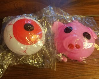 Eye/pig squeezeable stress ball