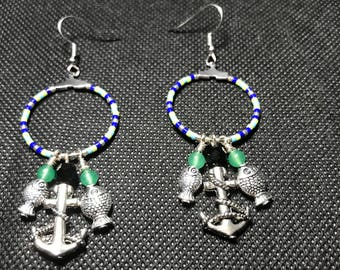 Silver Plated Fish and Anchor Hoop Earrings