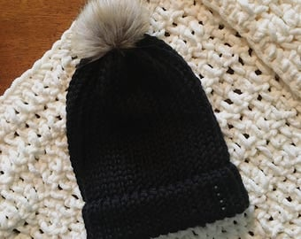 Black Chunky Knit Beanie with Brown Pom Pom - Embellished with Matte Gemstones