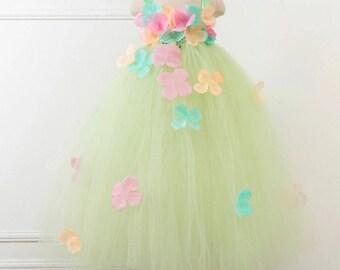 Super fluffy bridesmaid flowergirl birthday fairy tulle multicolored flower dress