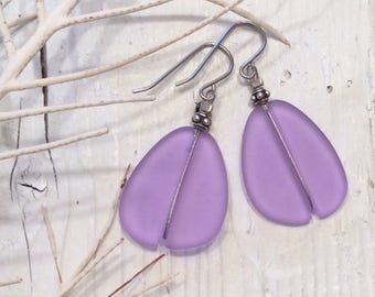 Lavender Sea Glass Earrings with Antique Silver Beads, Beach Glass Earrings, Recycled Glass