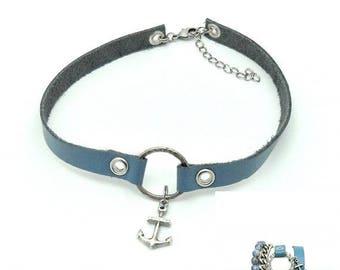 Anchor, Nautical, Jewelry set, Nautical jewelry, Light blue, Blue jewelry set, Wrap bracelet, Choker, Blue leather, Leather jewelry
