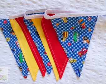 Cars & Vehicles Construction Boys red, blue and yellow fabric nursery bunting / pennant flags