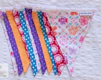 A pop of colour fairy princess castle bright girls fabric bunting / pennant flags nursery/bedroom wall decor