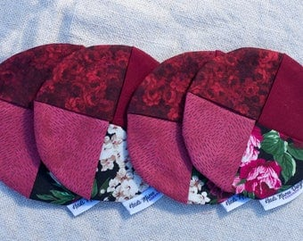 Dark Romantic Floral Fabric Wine Coasters set of four