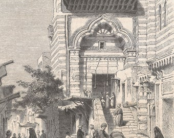 View of El-Moyed Mosque, Cairo, Egypt 1853 - Old Antique Vintage Engraving Art Print - Mosque, Ornamental, Steps, Men, Women,Children, Camel