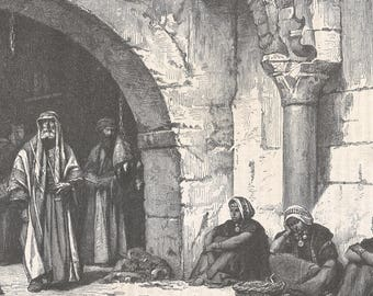 A Street in Jerusalem, Palestine 1870 - Old Antique Vintage Engraving Art Print - Men, Women, Street, Vendor, Thobe, Arch, Dogs, Walking