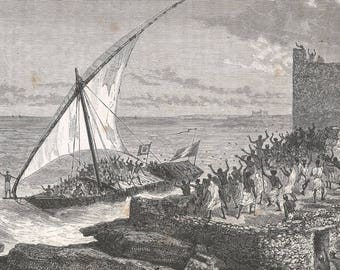 Somalia 1889, Our Dhow Entering the Harbor of Moguedouchou, Old Antique Vintage Engraving Art Print, Man, Crowd, Ship, Sail, Cheering, Sea