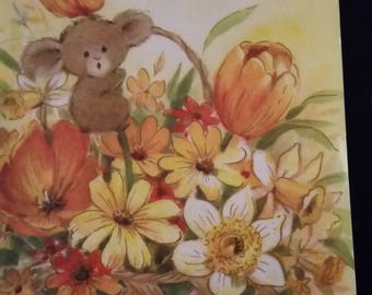 Vintage Greeting Card ~ Vintage Thinking of You Mouse Card - A Select Card - Mouse in Flower Basket