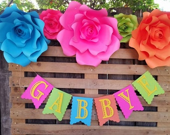 Personalized fiesta banner, fiesta backdrop banner, room name banner