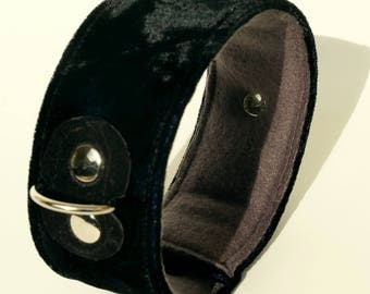 Dog collar black velvet-dog collar