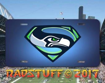 "Seahawks Superman Logo License Plate Aluminum 6x12"" New"