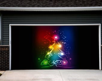 christmas tree wall art christmas double garage door cover christmas garage door murals