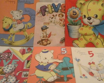 Vintage  5th birthday  greeting  cards