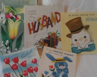 Vintage  to Husband Easter greeting  cards