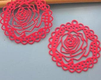 """2 filigree prints-""""Rose auxiliary"""" - color pink - Diam: 40 mm # T36"""