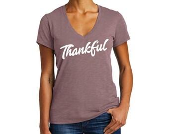 Womens Thankful T Shirt, V-neck Tee, Fall Shirt, Thanksgiving top, Women's Fall Shirt, Thankful Grateful Blessed Shirt