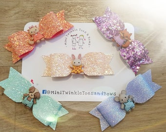 Set of 5 woodland glitter bows