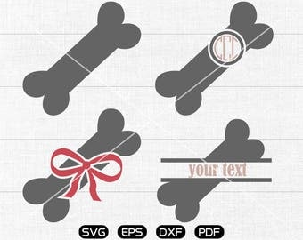 Bone SVG Files, Bone Monogram Frame svg, Bow Bone Clipart, cricut, cameo, silhouette cut files commercial &  personal use