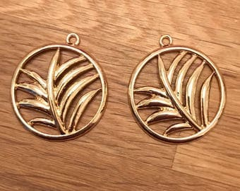 Gold Tone Gold Plated Palm Leaf Circle Pendant Charms 33mm x 29mm