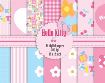 14 Hello Kitty Digital Papers 12 Inch, High Resolution 300 Dpi, Instant Download, Flower Digital Paper and Bonus 3 Clip Arts, Commercial Use