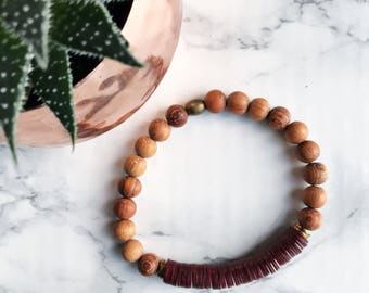 Record of Love Bracelet - Deep Red Record Beads & Bayong Wood Beads