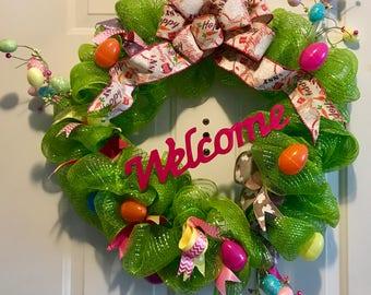 Easter Wreath   Deco Mesh Wreath   Spring Wreath  