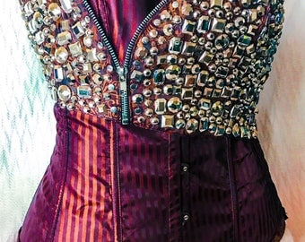 Red burgundy stripe black silver crystal corset with zipper detail, size medium M