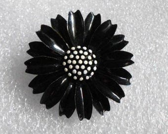 Vintage BLACK Enamel Flower Pin~signed TRIFARI~Lots of Detail
