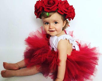 Floral baby romper and tutu set, valentines baby, baby romper, baby outfit, red tutu, baby onesie, baby set, cakesmash outfit,