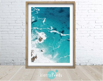 Ocean Art Print, Waves, Water, Coastal Wall Decor, Beach Art, Large Poster, Digital Download, Modern, Turquoise Blue