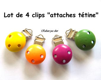 "Set of 4 clips - clips ""pacifier / Soother""-wooden - 4 colors - not cheap!"