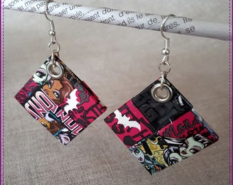 Black and pink pierced earrings