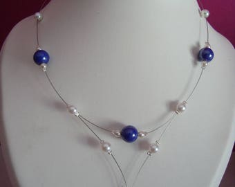 Moon Necklace blue and white