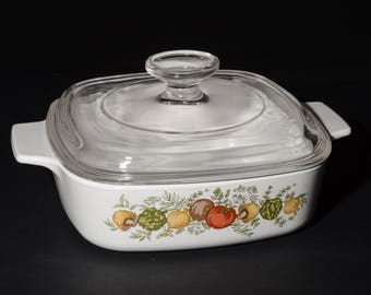 CORNING WARE, Vintage, Spice of Life pattern, 1 Quart Casserole with Glass Lid, Covered Casserole Dish, 1970s, Pyroceramic, Pyrex lid